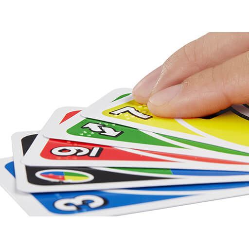 a hand of UNO Braille cards